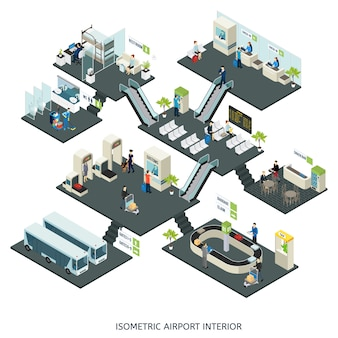 Composition isométrique des halls d'aéroport