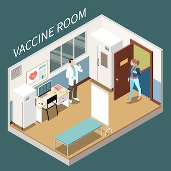 Composition isométrique de l'intérieur de la salle de vaccin avec une jeune femme qui est venue chez le médecin pour la vaccination