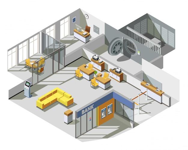 Composition isométrique intérieure de bureau de banque