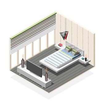 Composition isométrique intérieure de chambre à coucher futuriste