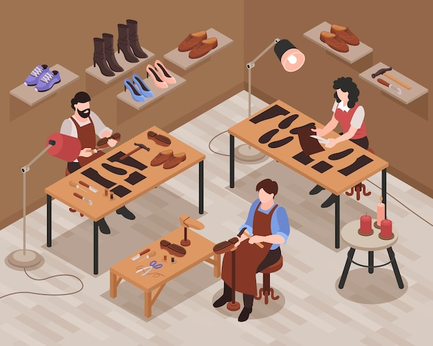 Composition isométrique intérieure de magasin de cordonnier avec des artisans réparant et fabriquant des chaussures à la main