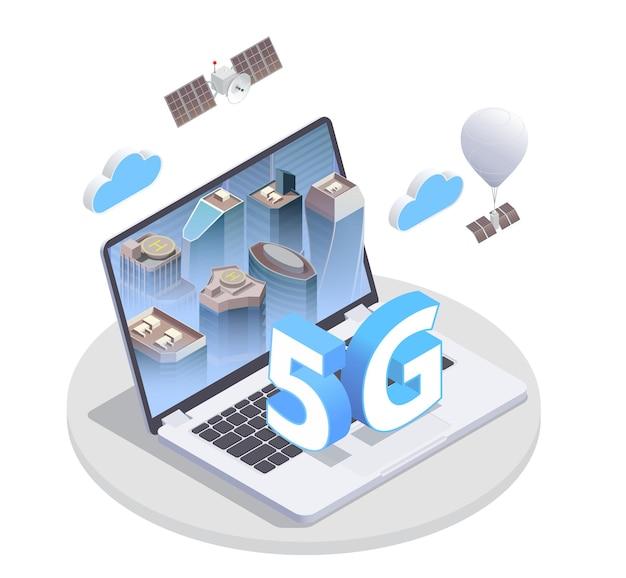 Composition isométrique internet haute vitesse 5g avec plate-forme ronde et image d'ordinateur portable avec éléments 5g