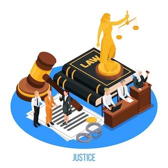 Composition isométrique de justice juridique avec figurine dorée