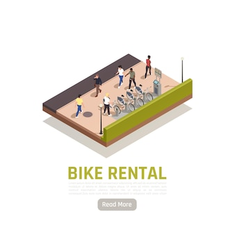 Composition isométrique de location de vélos avec quelques vélos disponibles à louer à la gare et un guichet automatique pour le paiement