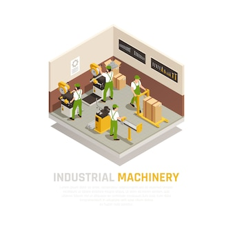 Composition isométrique de machines industrielles avec symboles de travailleurs d'usine