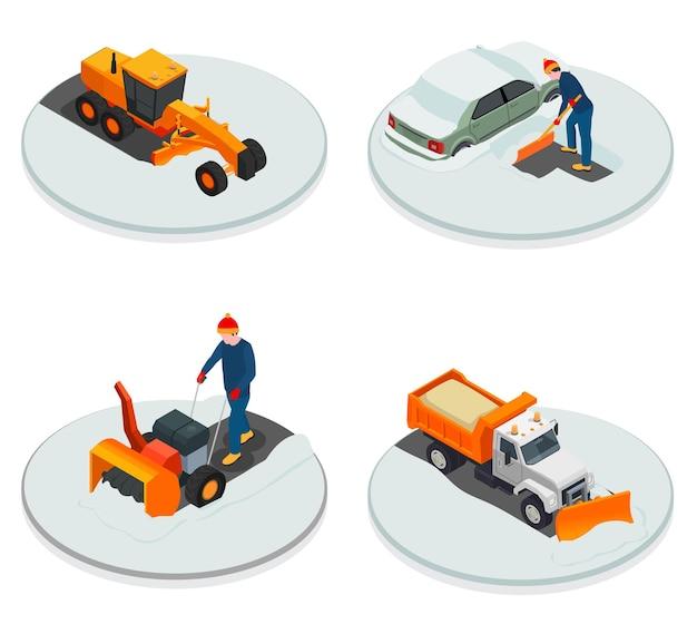 Composition isométrique des machines de nettoyage de la neige