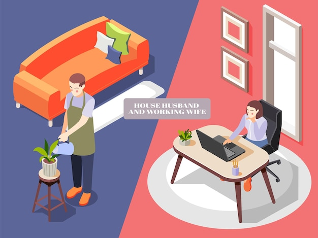Composition isométrique avec mari de maison en tablier arrosant des fleurs et femme travaillant au bureau 3d isolé