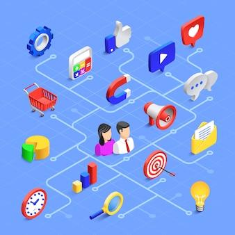 Composition isométrique des médias sociaux. communication marketing numérique, contenu multimédia ou partage d'informations.