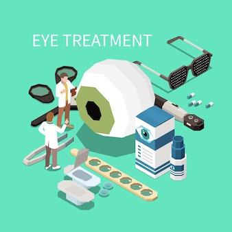 Composition isométrique d'ophtalmologie avec illustration d'instruments d'ophtalmologie