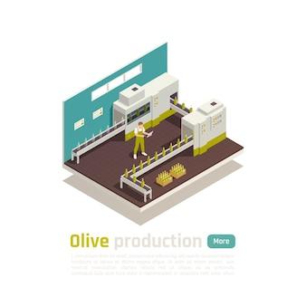 Composition isométrique de la production d'olives d'olive avec illustration de convoyeur de ligne d'embouteillage