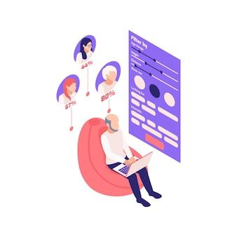 Composition isométrique des relations virtuelles en ligne avec un ordinateur portable pour homme et une application de rencontres avec filtres et illustration des avatars des partenaires