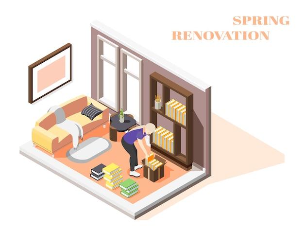 Composition isométrique de rénovation de printemps avec femme effectuant le nettoyage général de sa chambre