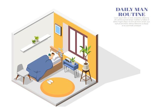 Composition isométrique de routine quotidienne avec un homme endormi dans sa chambre