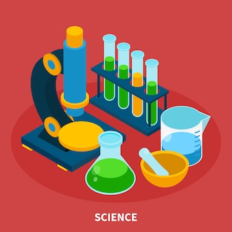 Composition isométrique scientifique avec symboles d'expérience sur fond rouge