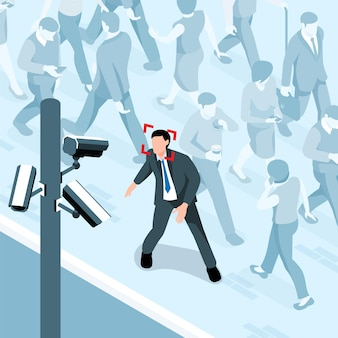 Composition isométrique de la sécurité publique du paysage de la rue avec des piétons et une personne dont le visage est reconnu