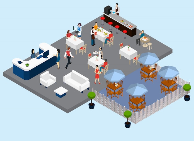 Composition isométrique de service de restaurant avec des serveurs et des tables de rue de la clientèle barista zones d'attente et de paiement illustration vectorielle
