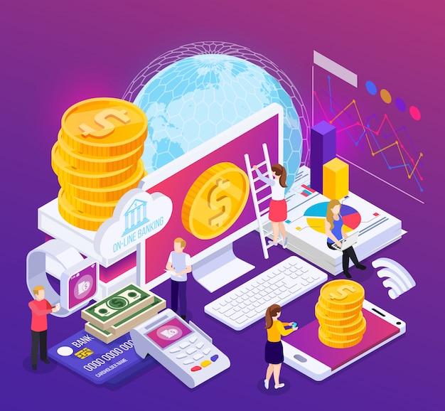 Composition isométrique des services bancaires en ligne avec des informations financières et des opérations sur violet avec éclat