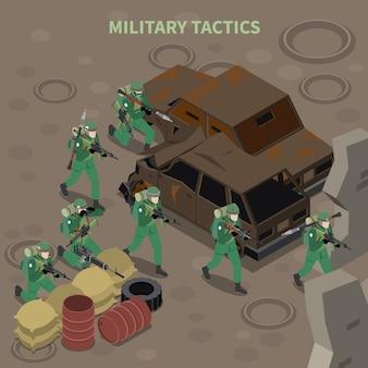 Composition isométrique de tactiques militaires avec un groupe d'infanterie armé en cours d'attaque avec des mitrailleuses