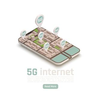 Composition isométrique de la technologie de communication internet 5g moderne avec texte modifiable de bouton en savoir plus et signes de localisation