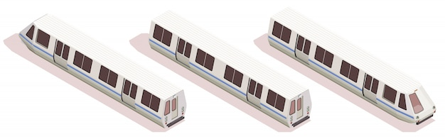 Composition isométrique de transport avec trois rames de métro isolé sur fond blanc 3d