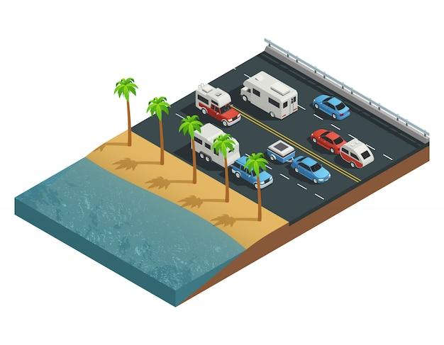 Composition isométrique des véhicules de loisirs sur la route avec personnes sur remorque et forêt