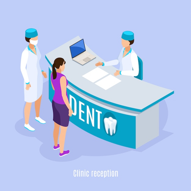 Composition isométrique de la zone de réception de la clinique dentaire avec le patient et l'assistant prenant rendez-vous sur fond bleu clair