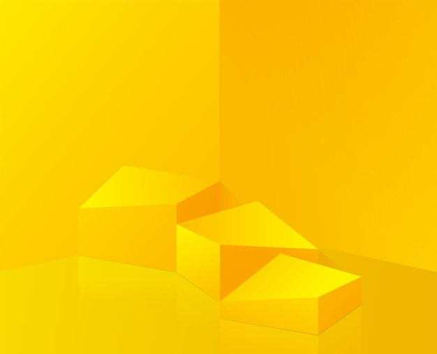 Composition jaune abstraite avec conception de podium
