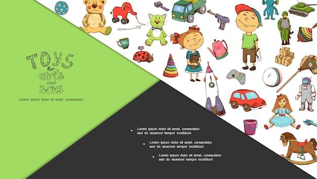 Composition de jouets pour enfants dessinés à la main