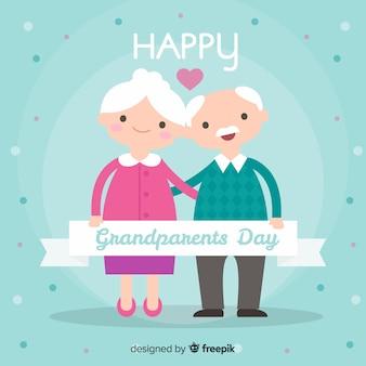 Composition de jour de beaux grands-parents au design plat