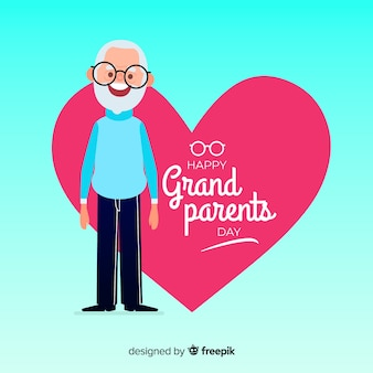 Composition de jour de beaux grands-parents au design plat