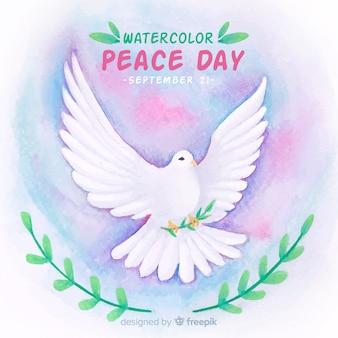 Composition de jour de paix avec colombe blanche aquarelle