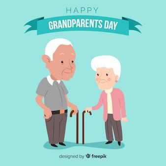 Composition de la journée des grands-parents avec un design plat