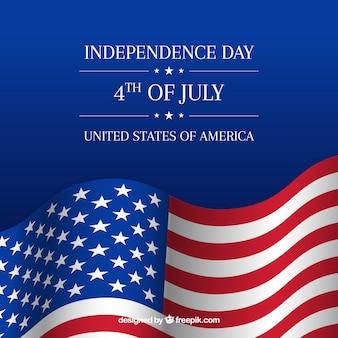 Composition de la journée de l'indépendance des états-unis avec un drapeau réaliste