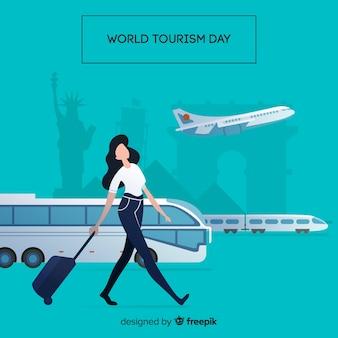 Composition de la journée mondiale du tourisme moderne au design plat