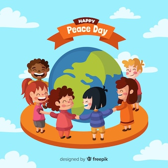 Composition de la journée de la paix avec des enfants se tenant la main dans le monde entier