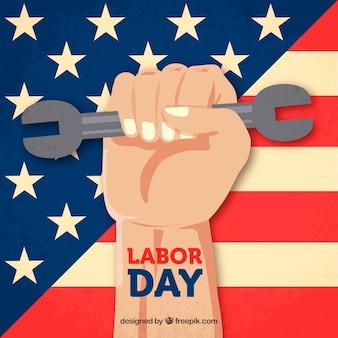 Composition de la journée de travail américain avec un design plat