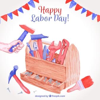Composition de la journée de travail américain avec style aquarelle