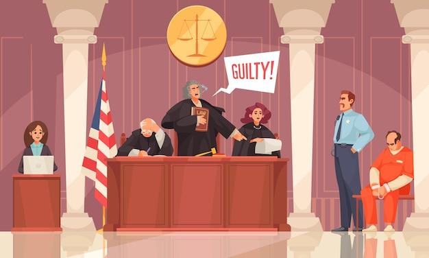 Composition de la justice de droit avec vue intérieure de la session du tribunal avec les membres du tribunal et coupable en bracelets