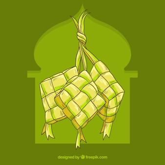 Composition De Ketupat Traditionnel Dessinés à La Main Vecteur gratuit