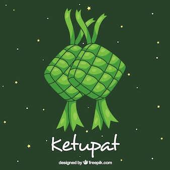 Composition de ketupat traditionnel dessinés à la main