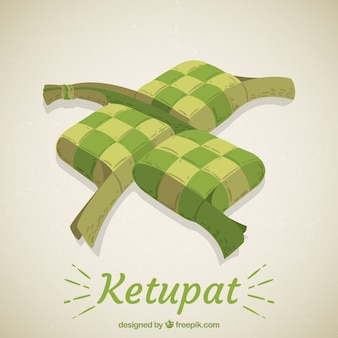 Composition de ketupat traditionnel dessinés à la main