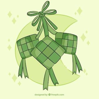 Composition de ketupat traditionnelle avec un design plat