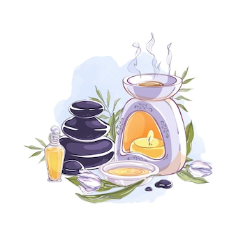 Composition avec lampe aromatique, huile essentielle, pierres et fleurs aromatiques.