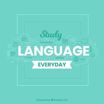 Composition de la langue avec un design plat