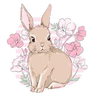 Composition de lapin et de fleurs mignon dessiné à la main