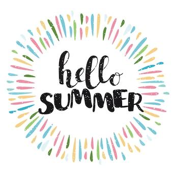 Composition de lettrage au pinceau.phrase bonjour summer et éclaboussures de couleur autour d'elle