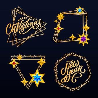 Composition de lettrage avec des étoiles et des étincelles