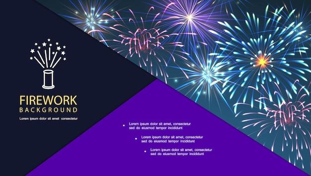 Composition lumineuse de feux d'artifice du festival avec illustration d'étincelles éclatantes et brillantes colorées