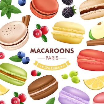 Composition de macaron avec des fruits isolés à la menthe et aux biscuits aux amandes
