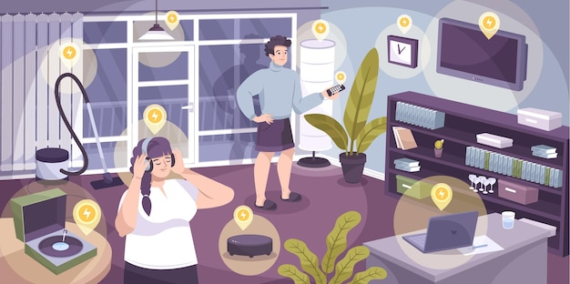 Composition de la maison électrique avec de nombreux appareils électroménagers fonctionnant sur secteur illustration
